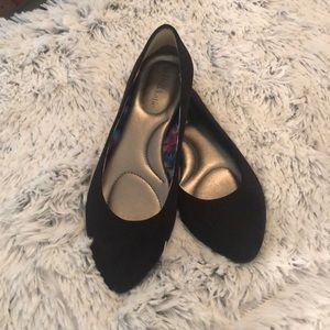 Black flats suede like material size 8